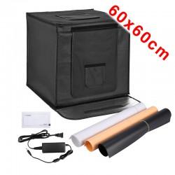 Foto-Studio-Box mit LED 60x60 cm faltbar inkl. 3 Hintergründe