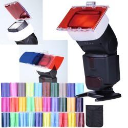 Set mit 30 Gelatine Farbfilter für Blitz Cobra von Nikon Canon