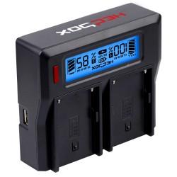 Duales Ladegerät HedBox für verschiedene Akkutypen 220v und 12v mit LCD
