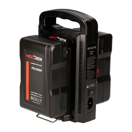 Kit HedBox 2x 98Wh batterie V-Mount et chargeur total 196Wh