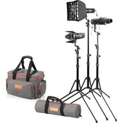 Godox S30 kit 3x projecteurs à LED avec trépieds + accessoires