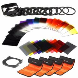 Kit complet filtres carrés gradués ND8 ND16 avec couleur + support et adaptateur